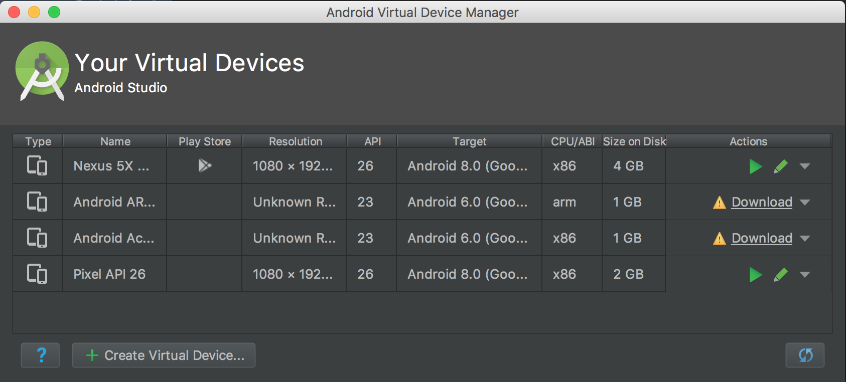 android-studio-virtual-devices